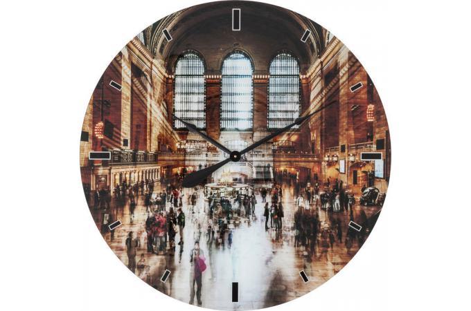 Horloge murale kare design en verre impression city 80x80cm grand central horloge design pas cher for Horloge murale verre