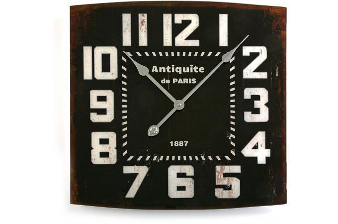horloge murale r tro carr e noir 50x50cm horloge design pas cher. Black Bedroom Furniture Sets. Home Design Ideas