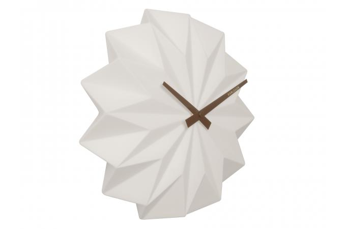 Horloge murale style origami blanche himalia horloge design pas cher - Origami decoration murale ...