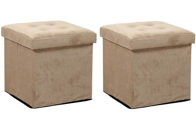 jeu de 2 poufs coffre carr pliant ecru essy pouf design. Black Bedroom Furniture Sets. Home Design Ideas