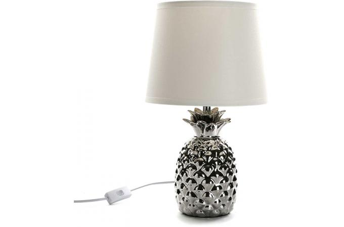 lampe en c ramique ananas argent pinya lampe poser pas cher. Black Bedroom Furniture Sets. Home Design Ideas