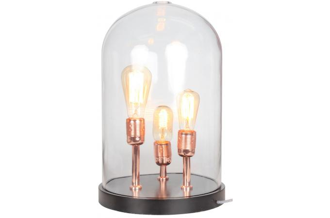 lampe a poser socle en bois noir cloche en verre trois ampoules kupfer lampe poser pas cher. Black Bedroom Furniture Sets. Home Design Ideas