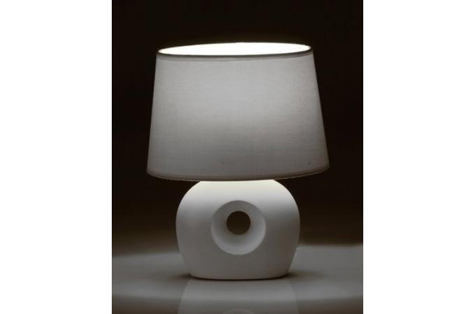 Lampe de chevet en c ramique blanche nina lampe poser for Lampe de chevet blanche