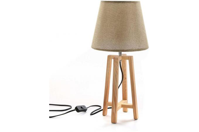 lampe de table scandinave beige et bois galma lampe poser pas cher. Black Bedroom Furniture Sets. Home Design Ideas