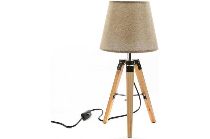 lampe de table scandinave beige et bois pilsa lampe poser pas cher. Black Bedroom Furniture Sets. Home Design Ideas