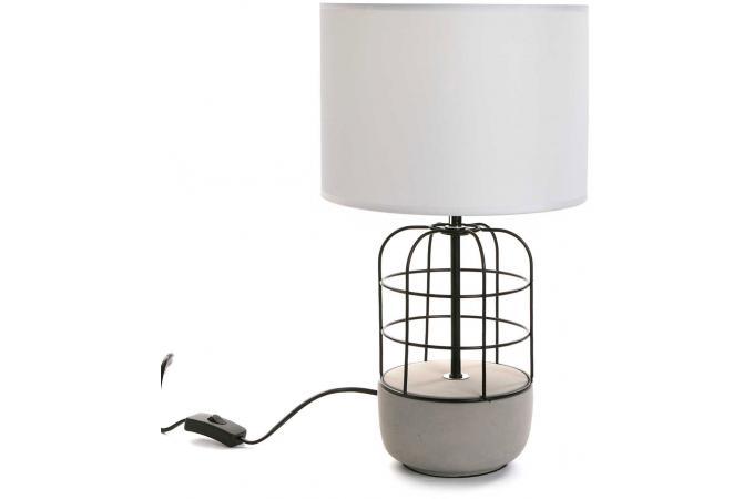 lampe de table style industriel en m tal blanc et noir h45 goelise lampe poser pas cher. Black Bedroom Furniture Sets. Home Design Ideas