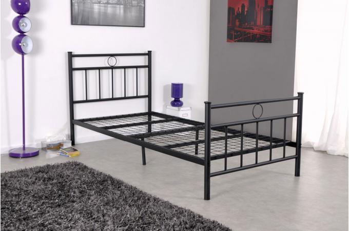 Lit 1 personne en acier noir avec sommier grille 90x190 marise lit design p - Lit acier 1 personne ...