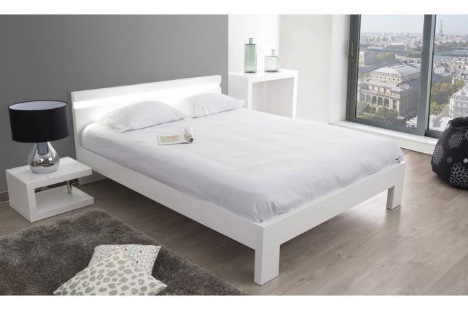 lit 160x200 blanc peppers lit design pas cher. Black Bedroom Furniture Sets. Home Design Ideas