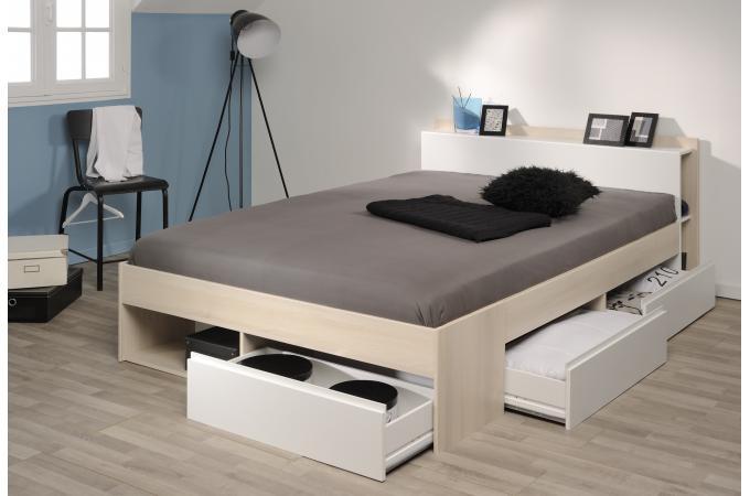 Lit avec rangement 140 x 200 cm coloris acacia clair lit design pas cher - Lit 140 avec tiroirs rangement ...