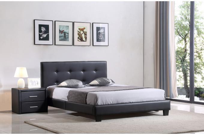 lit capitonn avec sommier noir 140x190 elyne lit design pas cher. Black Bedroom Furniture Sets. Home Design Ideas