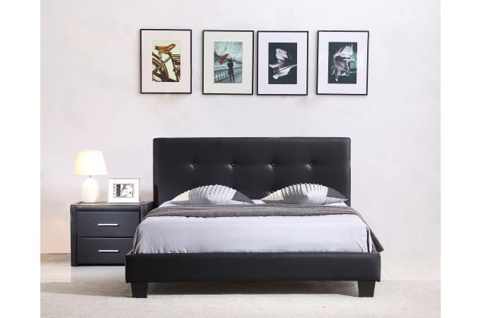 lit capitonn avec sommier noir 140x190 elyne lit design. Black Bedroom Furniture Sets. Home Design Ideas