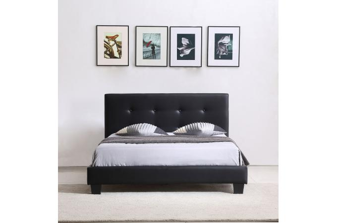 lit capitonn avec sommier noir 140x190 elyne lit design pas cher. Black Bedroom Furniture Sets. Home Design Ideas