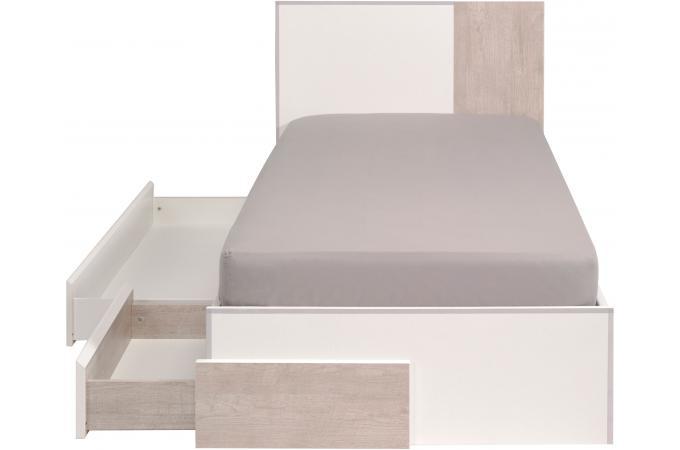lit avec tiroir beige et blanc 90x190 edwyn lit enfant pas cher. Black Bedroom Furniture Sets. Home Design Ideas