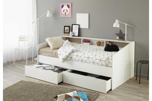 lit banquette blanc 90x200 sleepin lit design pas cher. Black Bedroom Furniture Sets. Home Design Ideas