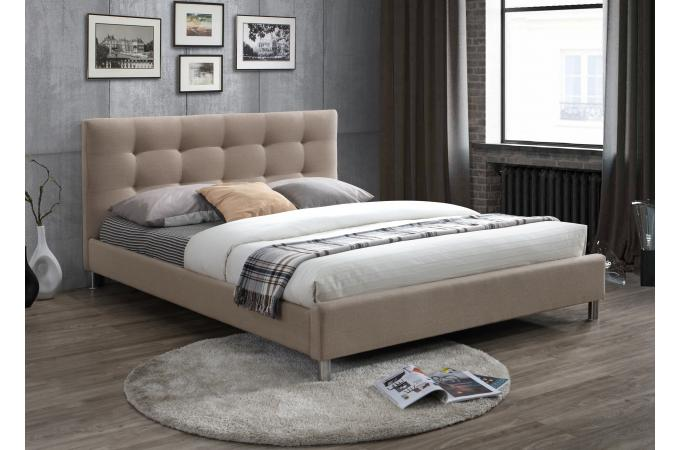 lit beige 160 en tissu avec t te de lit capitonn e eva lit design pas cher. Black Bedroom Furniture Sets. Home Design Ideas