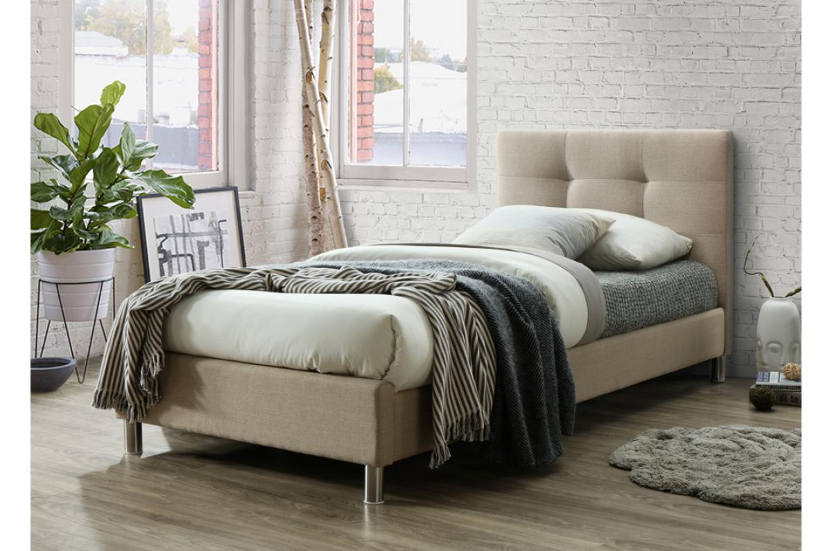 Lit Avec Tete De Lit Matelassé lit beige avec tête de lit capitonnée 90cm eva plus d'infos