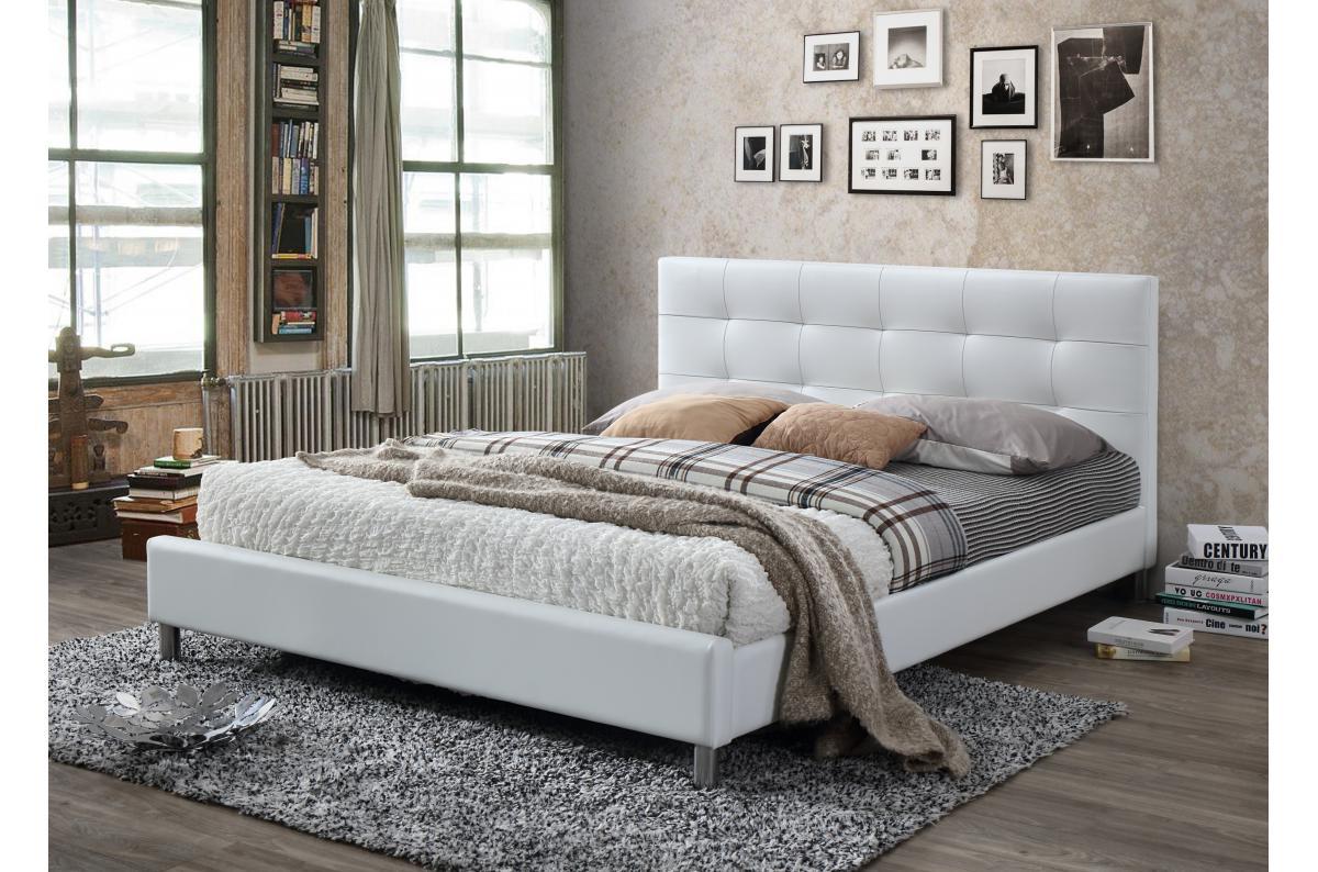 Lit Avec Tete De Lit Matelassé lit blanc avec tête de lit capitonnée 160 eva plus d'infos