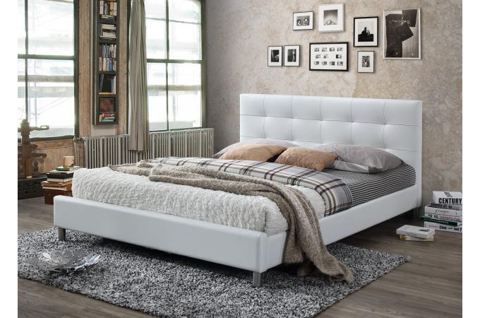 lit blanc avec t te de lit capitonn e 160 eva lit design pas cher. Black Bedroom Furniture Sets. Home Design Ideas