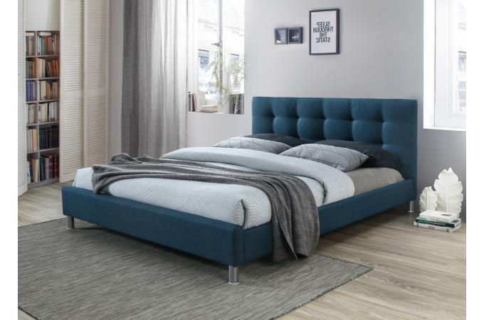 lit bleu 160 en tissu avec tête de lit capitonnée eva - lit design