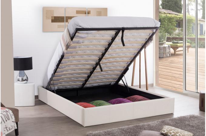 lit coffre 140x190 blanc mapala lit design pas cher. Black Bedroom Furniture Sets. Home Design Ideas