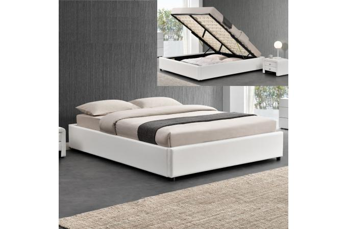 lit coffre 140x190 blanc pareto lit design pas cher. Black Bedroom Furniture Sets. Home Design Ideas