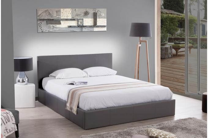 lit coffre 140x190 gris anthology lit design pas cher. Black Bedroom Furniture Sets. Home Design Ideas