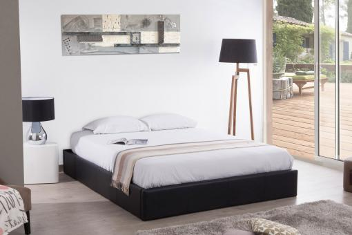 lit coffre 140x190 noir mapala lit design pas cher. Black Bedroom Furniture Sets. Home Design Ideas