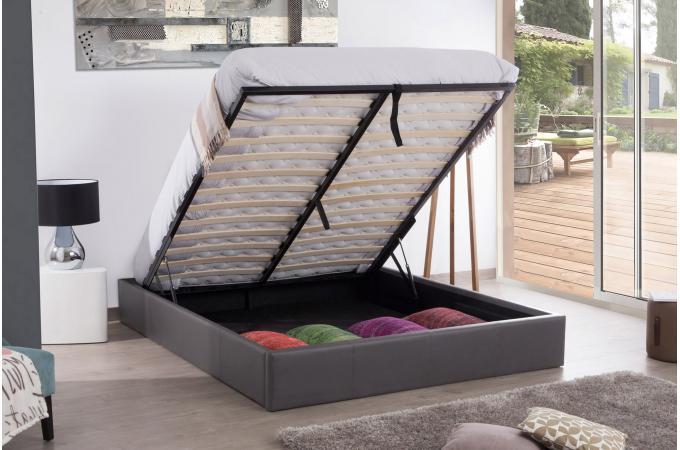 lit coffre 160x200 gris mapala lit design pas cher. Black Bedroom Furniture Sets. Home Design Ideas