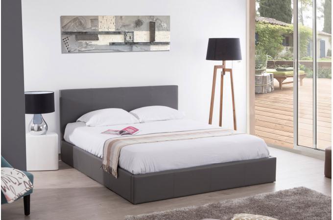 lit coffre 160x200 gris stona lit design pas cher. Black Bedroom Furniture Sets. Home Design Ideas