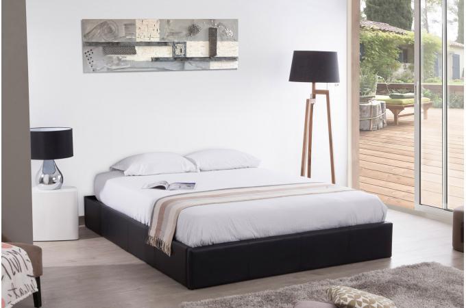 lit coffre 160x200 noir mapala lit design pas cher. Black Bedroom Furniture Sets. Home Design Ideas