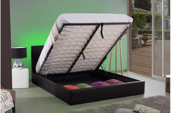 lit coffre 180x200 noir john lit design pas cher. Black Bedroom Furniture Sets. Home Design Ideas
