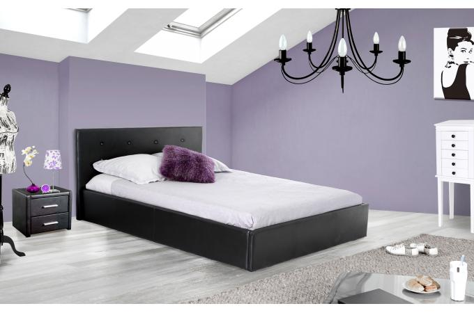 lit coffre capitonn avec sommier noir 140x190 elyni lit design pas cher. Black Bedroom Furniture Sets. Home Design Ideas