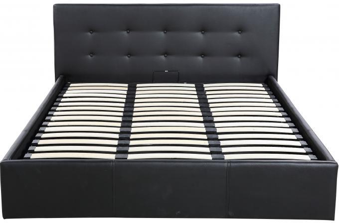 lit coffre capitonn avec sommier noir 160x200 aylina. Black Bedroom Furniture Sets. Home Design Ideas