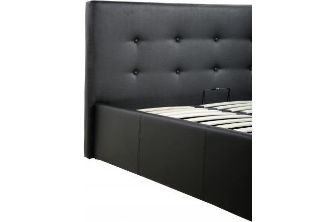 lit coffre capitonn avec sommier noir 160x200 aylina lit design pas cher. Black Bedroom Furniture Sets. Home Design Ideas