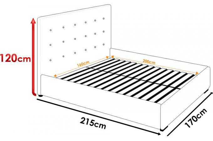 Lit coffre avec t te de lit capitonn e effet cuir beige for Lit avec tete de lit capitonnee