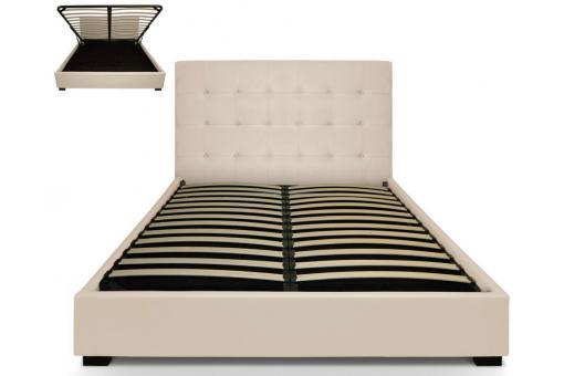 lit coffre avec t te de lit capitonn e beige 160x200 cm lit design pas cher. Black Bedroom Furniture Sets. Home Design Ideas