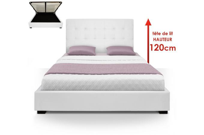 lit coffre avec t te de lit capitonn e blanc 160x200 cm. Black Bedroom Furniture Sets. Home Design Ideas
