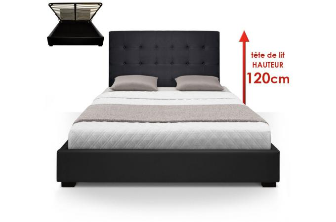 lit coffre avec t te de lit capitonn e noir 160x200 cm lit design pas cher. Black Bedroom Furniture Sets. Home Design Ideas