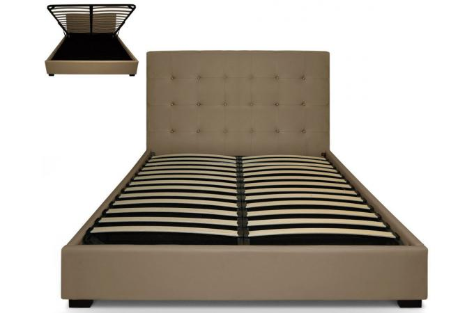 lit coffre avec t te de lit capitonn e cuir taupe 160x200 cm lit design pas cher. Black Bedroom Furniture Sets. Home Design Ideas