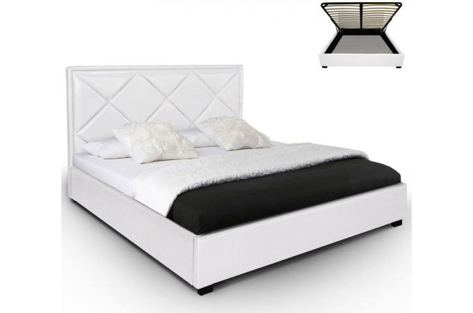 lit coffre en simili cuir blanc nethos 140x190 cm lit design pas cher. Black Bedroom Furniture Sets. Home Design Ideas