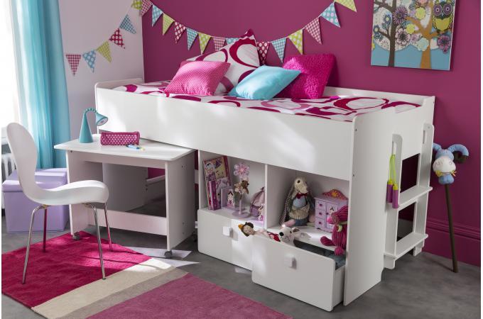 lit combin pour enfant 90x200cm avec bureau et rangement blanc alto lit enfant pas cher. Black Bedroom Furniture Sets. Home Design Ideas