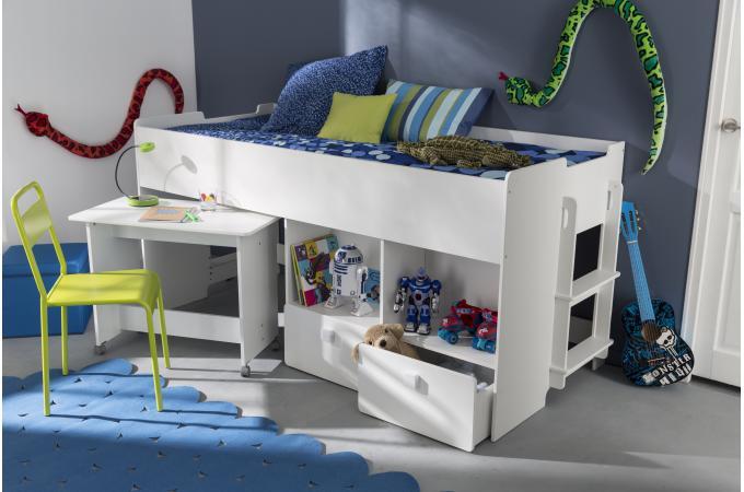 lit combin pour enfant 90x200cm avec bureau et rangement. Black Bedroom Furniture Sets. Home Design Ideas
