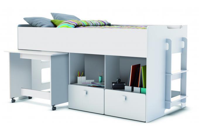 Lit combiné pour enfant 90x200cm avec bureau et rangement blanc alto