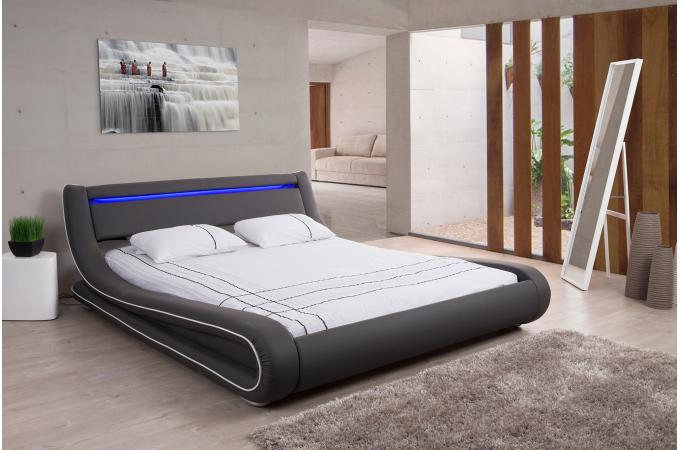lit design led 160x200 gris blanc julio lit design pas cher. Black Bedroom Furniture Sets. Home Design Ideas