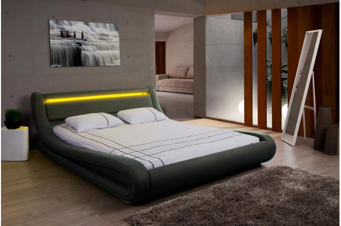 lit design led 160x200 noir julio lit design pas cher. Black Bedroom Furniture Sets. Home Design Ideas