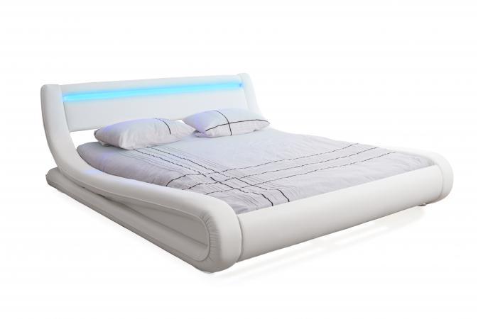lit design led 180x200 blanc julio lit design pas cher. Black Bedroom Furniture Sets. Home Design Ideas