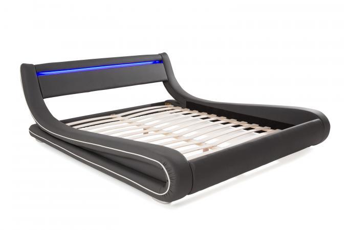 lit design led 180x200 gris blanc julio lit design pas cher. Black Bedroom Furniture Sets. Home Design Ideas