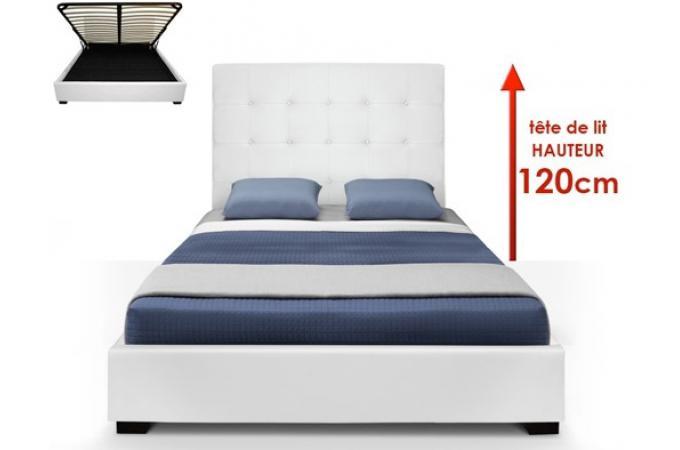 lit coffre blanc sommier relevable 160x200 nani lit. Black Bedroom Furniture Sets. Home Design Ideas