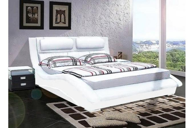 lit 140x190 blanc wavy lit design pas cher. Black Bedroom Furniture Sets. Home Design Ideas