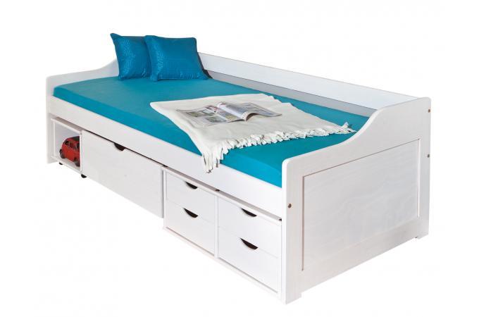 lit en bois avec 3 espaces de rangement blanc 90x200 kloe lit enfant pas cher. Black Bedroom Furniture Sets. Home Design Ideas